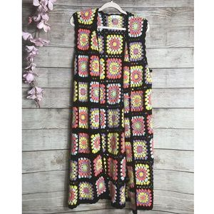 F21 Afghan/Blanket Style Crochet Duster